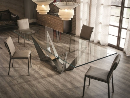 Cattelan Italia Skorpio Table with chairs and lamps in living room
