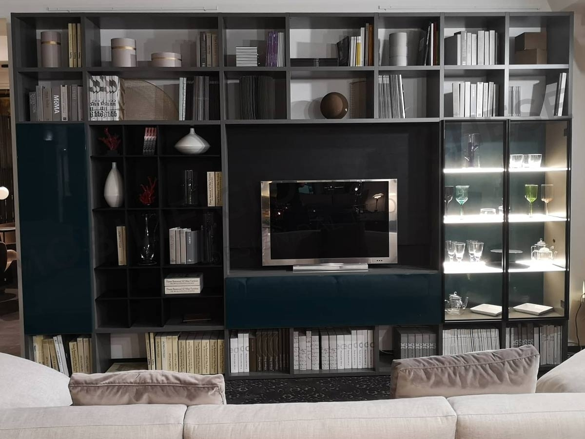 Brown Lema Selecta Bookcase with TV screen at the best-discounted price