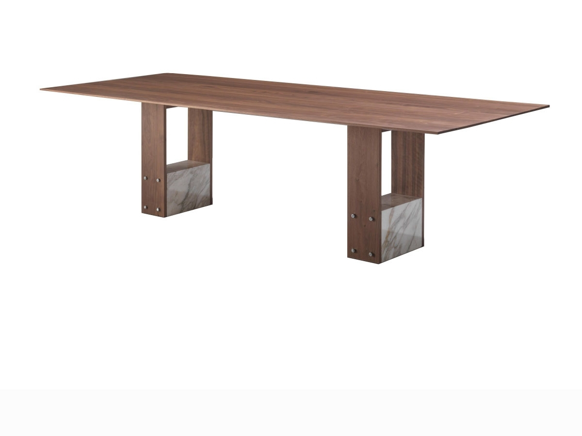 Shani dining table by Porada: wood and marble for style