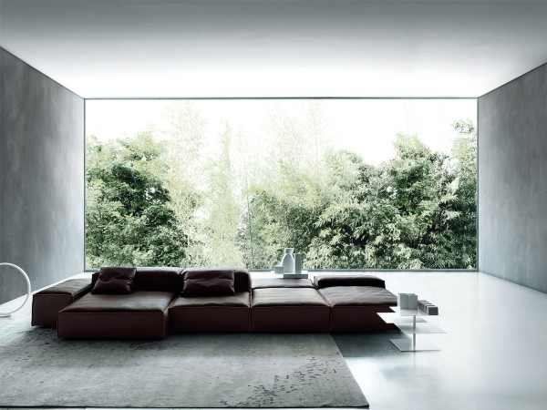 Brown Extrasoft Sofa Living Divani in living room with garden