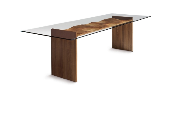 Ripples table: wood, glass...