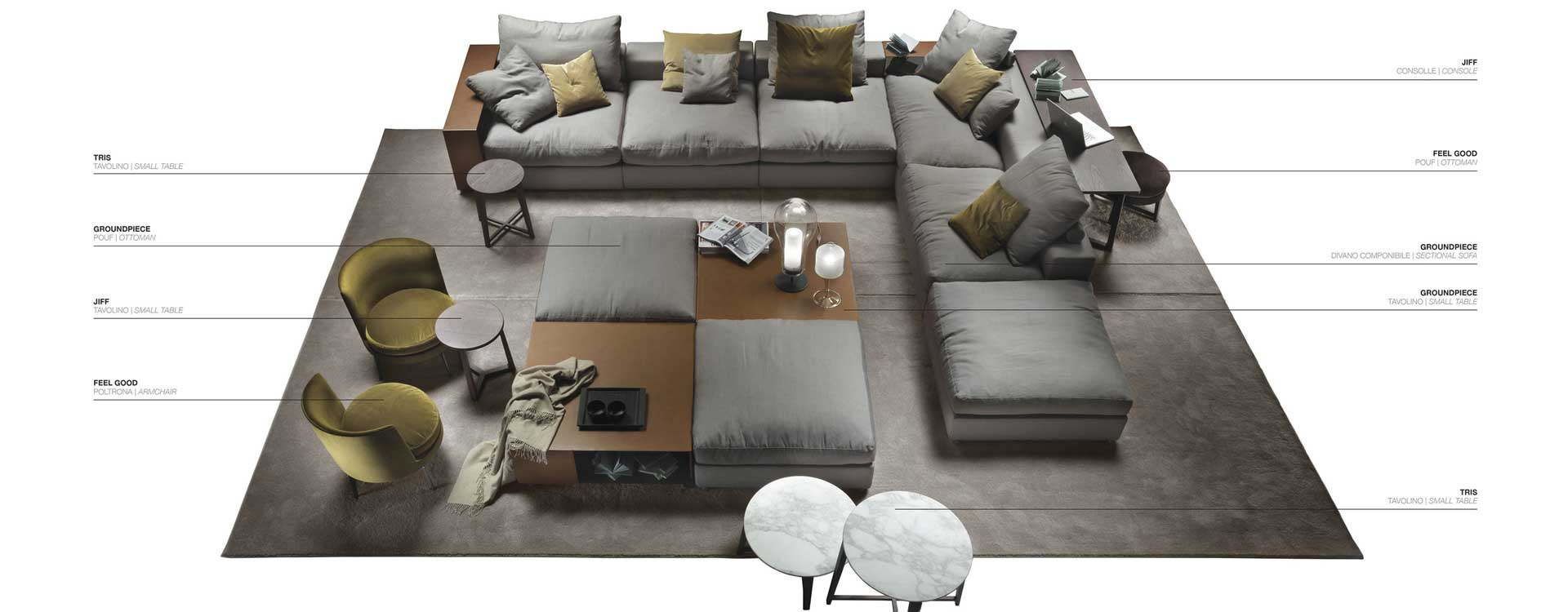 Full composition with sectional sofa example Flexform