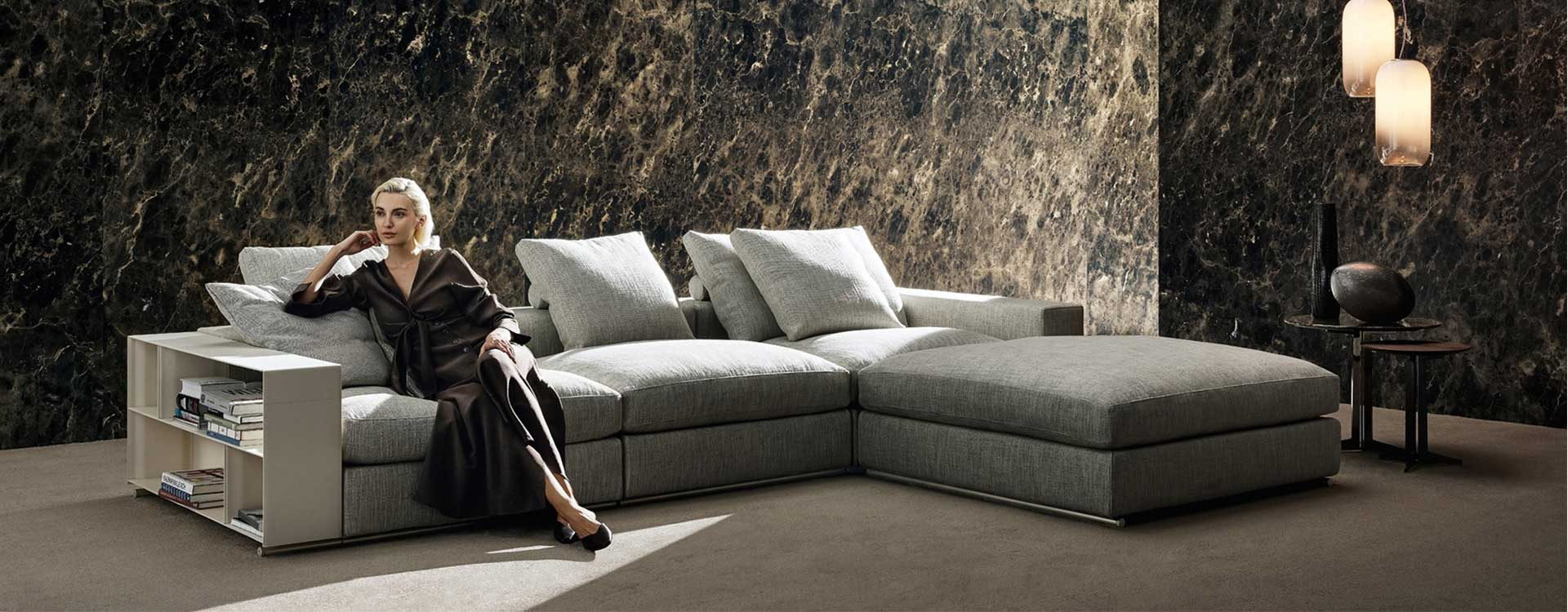 Sectional sofa example in large living room