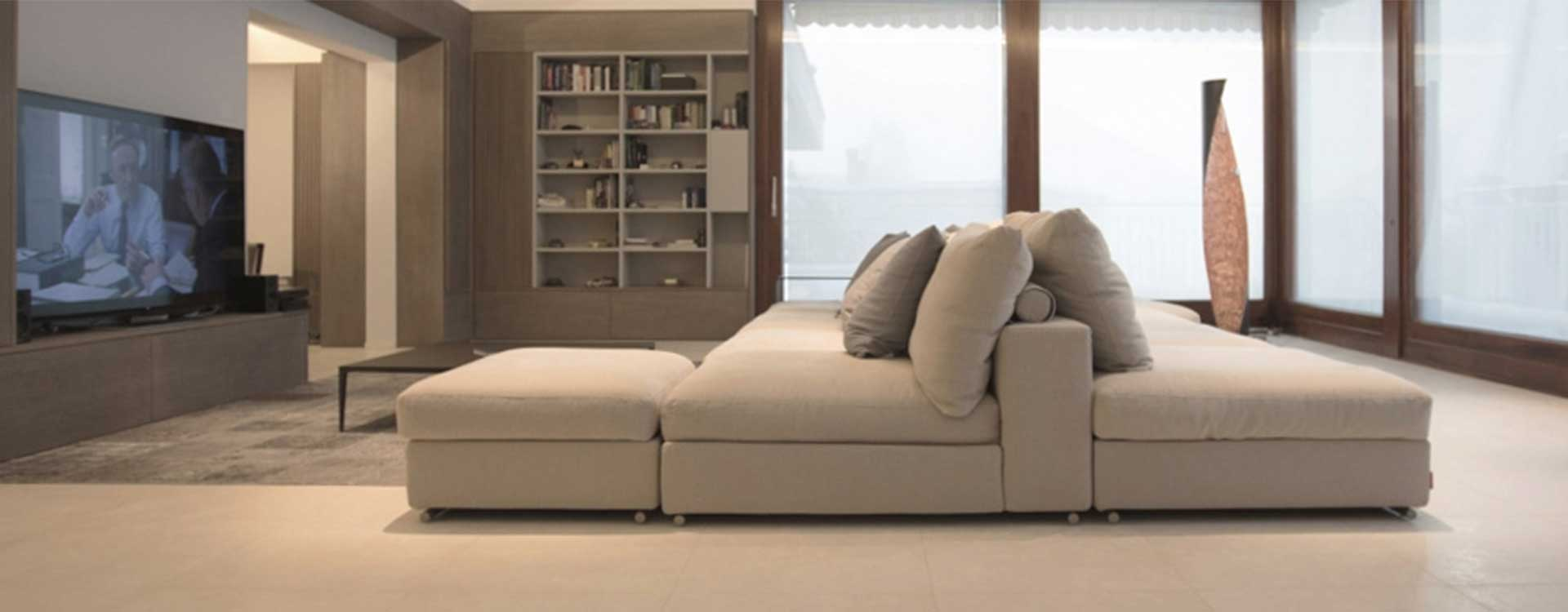 Modular sofa by Flexform realized in island mode for large living room